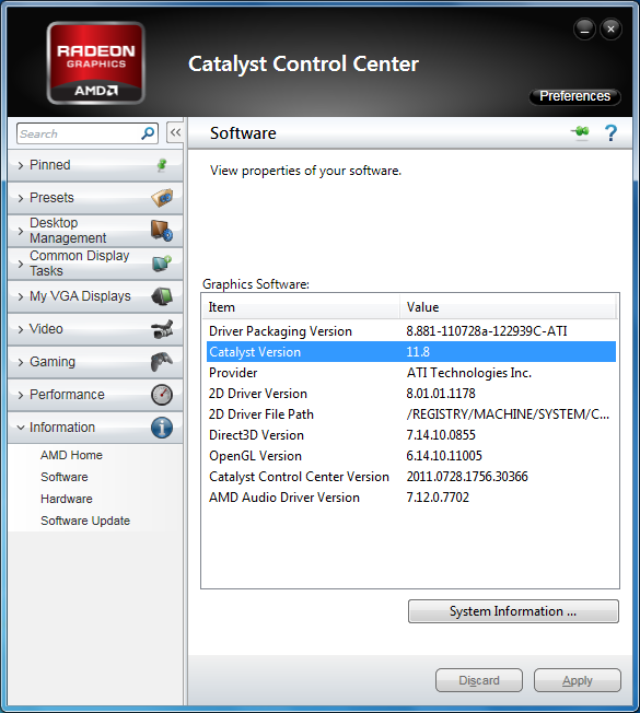 AMD Catalyst 11.8 WHQL version numbers
