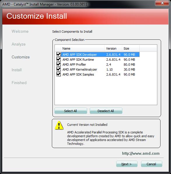AMD APP SDK 2.6 component versioning