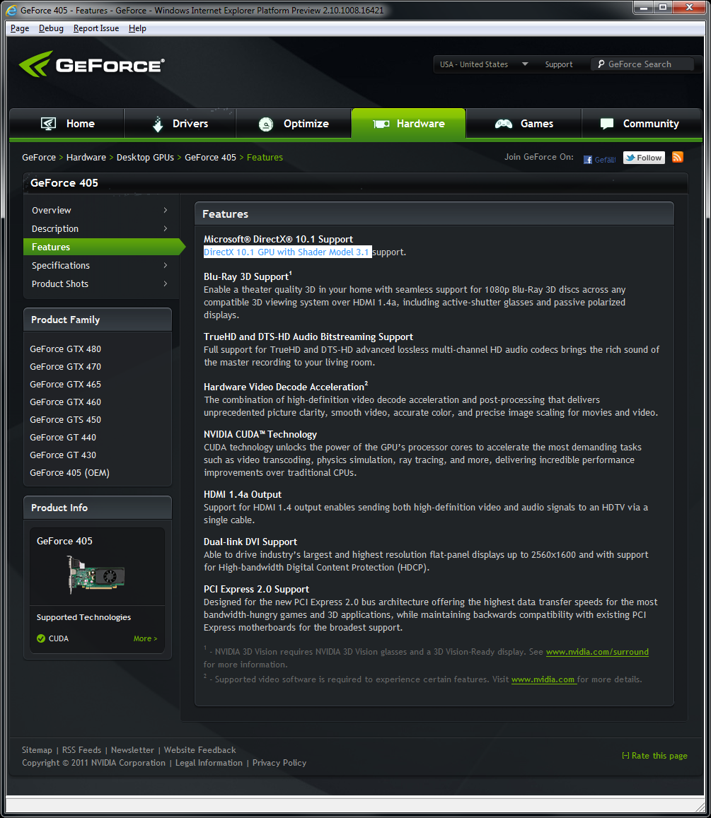 Nvidia Geforce 405 OEM - a non-Fermi card