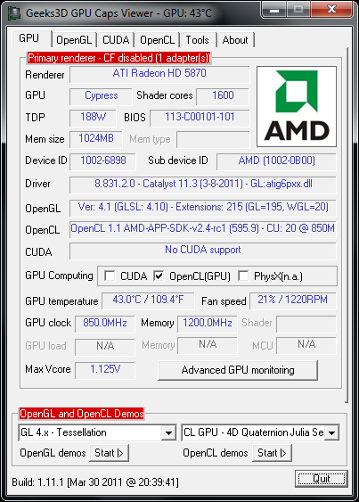 AMD Catalyst 11.3 in GPU Caps Viewer 1.11.1