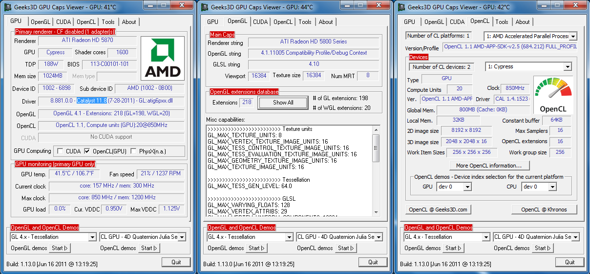 AMDs Catalyst 11.8 WHQL with GPU Caps Viewer