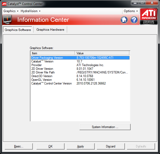 This screenshot from AMDs Catalyst Driver shows the section called information center. Here you can find the exact revisions of each of the main drivers components.