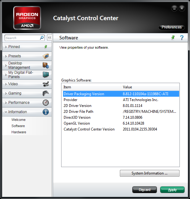 AMD Catalyst 11.2 Component Versions