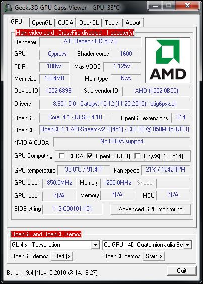 AMD Catalyst 10.12 in GPU Caps Viewer 1.94