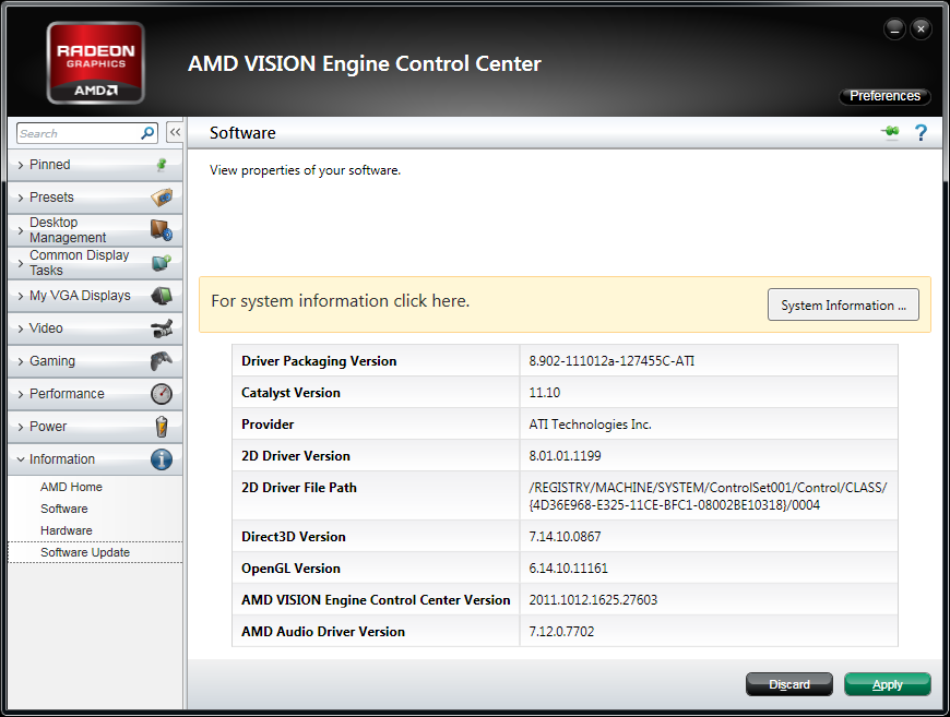 AMD Catalyst 11.10 WHQL Software Version Numbers