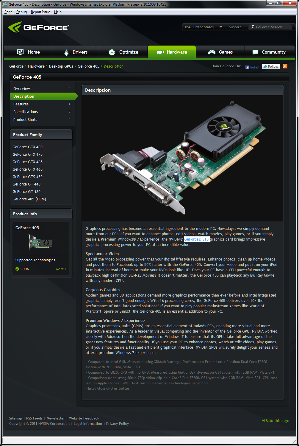 Nvidia Geforce 405 OEM - a non-Fermi card