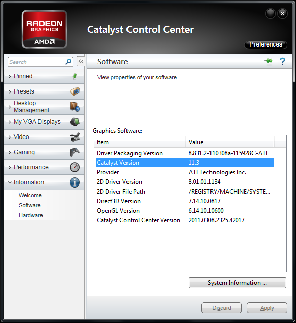 AMD Catalyst 11.3 Component Versions