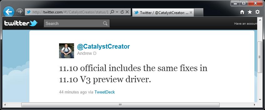 CatalystCreator Andrew Dodd about Catalyst 11.10 on Twitter (2)