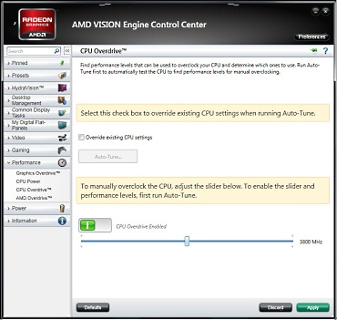 AMD Overdrive Tab with CPU controls (courtesy of AMD)