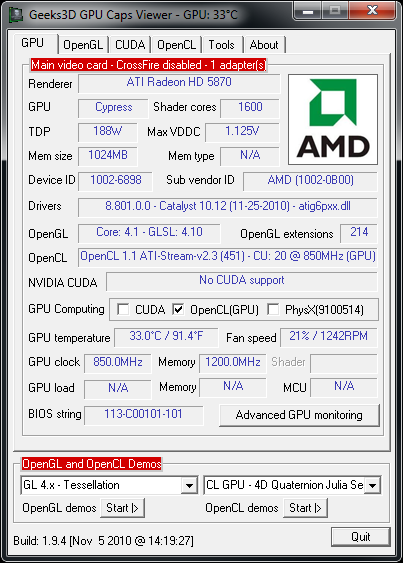 AMD Catalyst 10.12 in GPU Caps Viewer 1.94