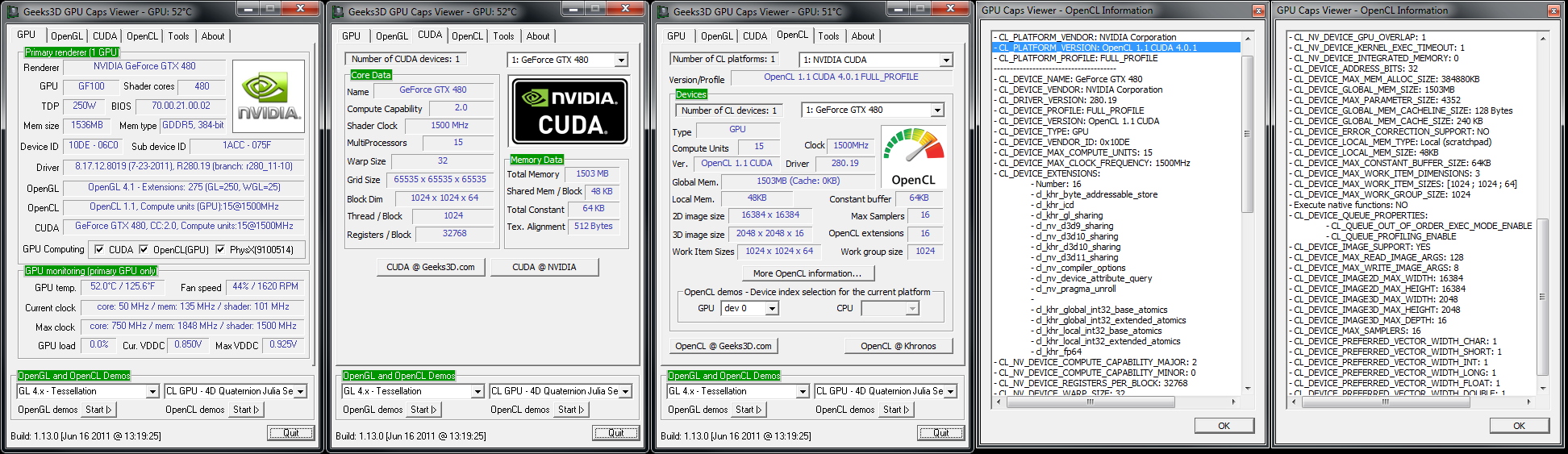 Overview with GPU Caps Viewer. Open CL has been upgraded to 1.1 and CL_DEVICE_IMAGE2D_MAX_WIDTH and _HEIGHT have been changed.