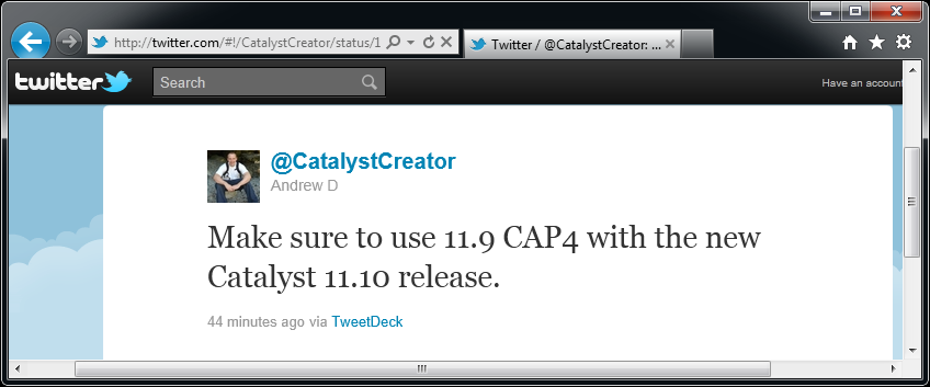 CatalystCreator Andrew Dodd about Catalyst 11.10 on Twitter (1)