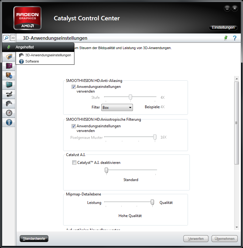 The new Catalyst Control Center - extended view