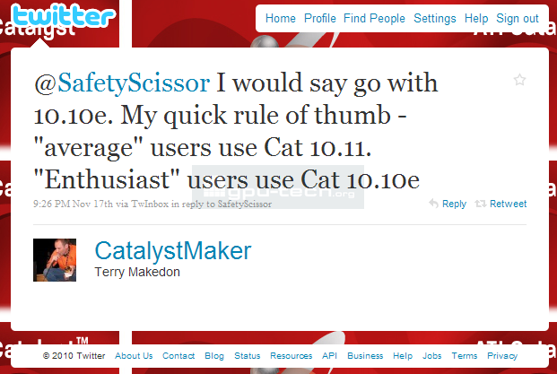 Catalystmaker recommends 10.10e over 10.11 for enthusiasts