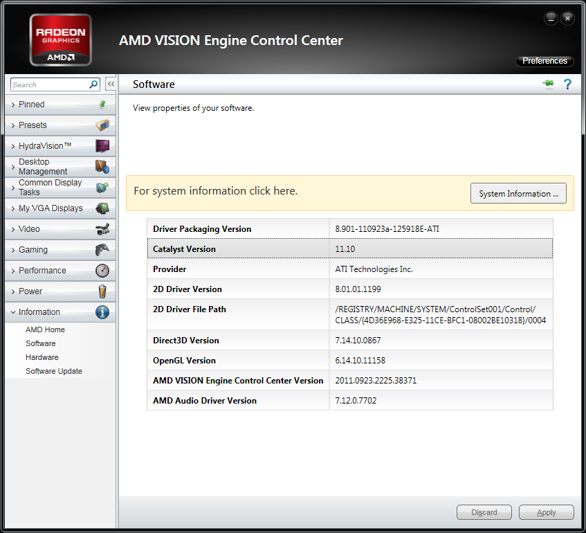 AMD Catalyst 11.10 Preview with newly designed Information Center