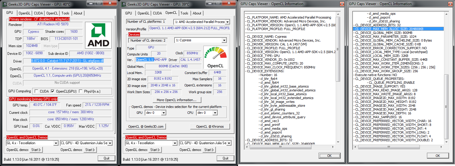 Overview of OpenCL Capabilities with GPU Caps Viewer